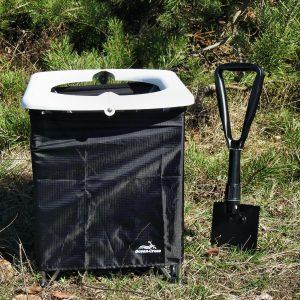 Opvouwbaar camping toilet met schep